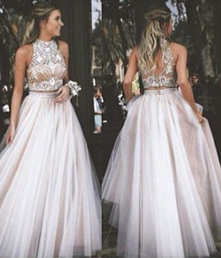 Sexy Two Piece Prom Dress - High Neck Tulle with Rhinestone