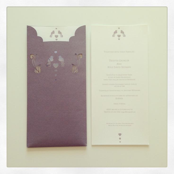 Laser cut, bird inspired pocket wedding invitation   Kyle & Tristyn's Wedding Day
