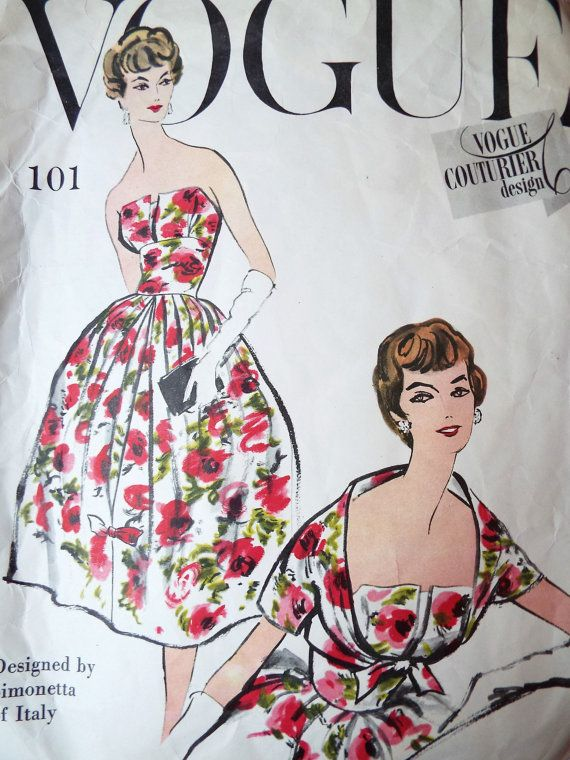 Vintage 1950s Vogue Simonetta of Italy sewing pattern Gorgeous pleated dress with a front inverted pleat, feature bodice and a simple tie front bolero jacket  Pattern number 101  The pattern pieces are plain, they are pre cut and they have been used. Some have the off tear mark but it is reusable The pattern is for an intermediate to advanced dressmaker Bust 34 inches  Free UK postage  Please find other 1950s patterns here https://www.etsy.com/shop/foxvintageuk?section_id=12656530