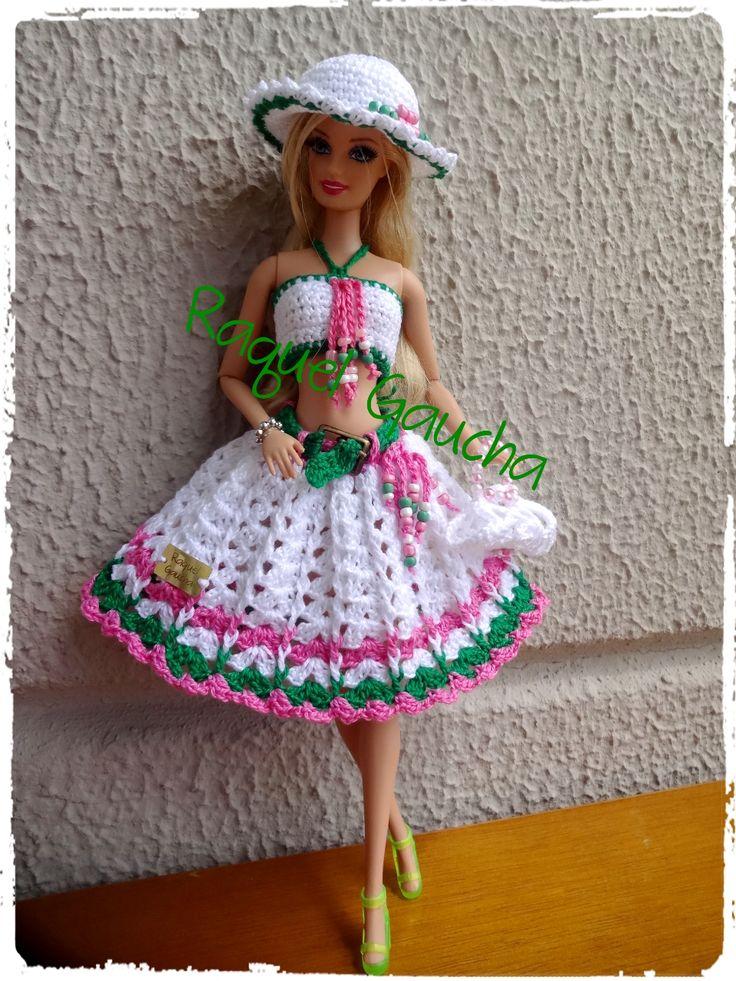 #Crochet #Cléa5 #Barbie #Doll #Sombrero #Chapéu #Saia #Top #Purse #Bolsa #Muñeca #RaquelGaucha