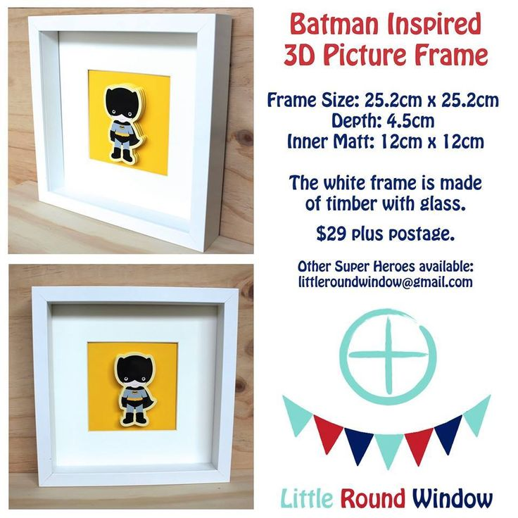 Handmade by Little Round Window  Batman Inspired 3D Picture Frame