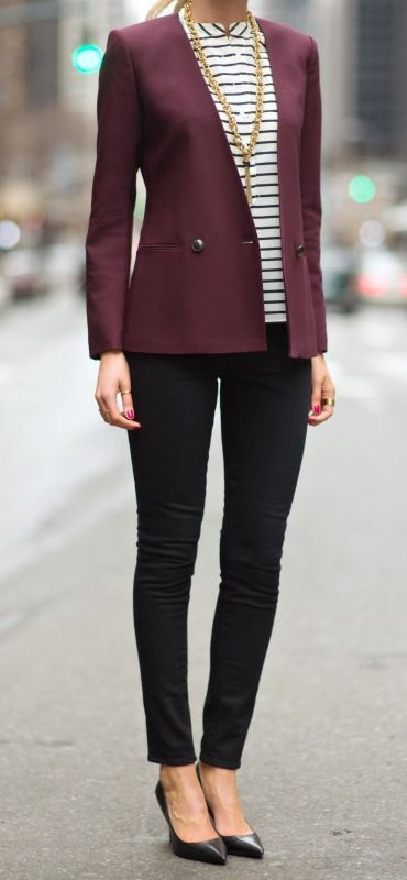 Workwear | Plum blazer, skinnies and striped top