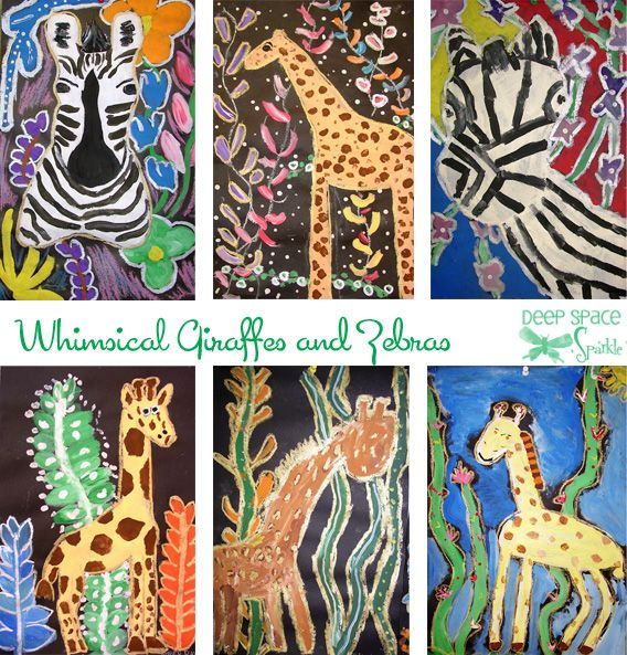 Whimsical-Giraffes-and-Zebras-Art-Lesson