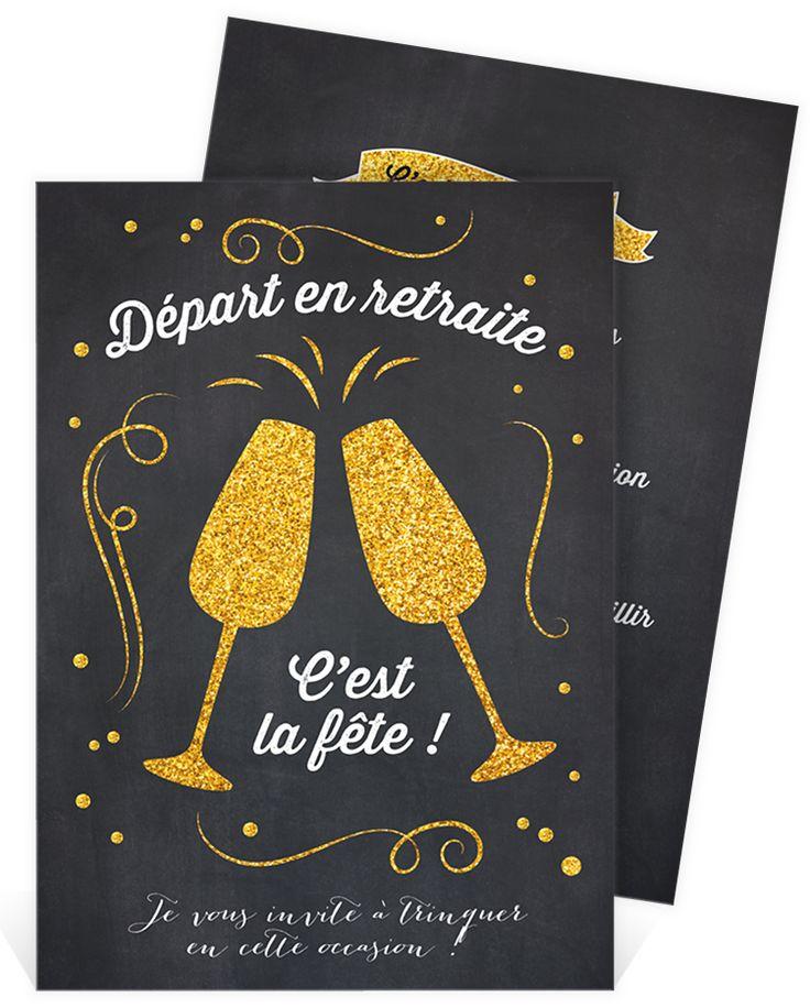 Carte invitation départ à la retraite sur un thème festif où vous pourrez trinquer à votre nouvelle vie, ref N241115