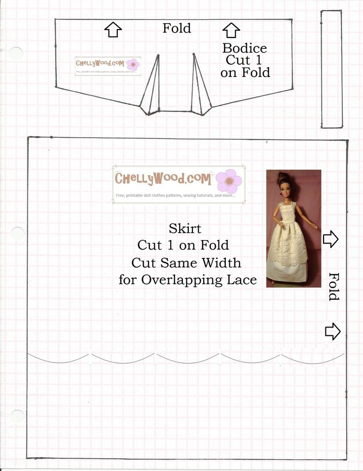 Image: sewing pattern for fashion doll strapless or lace-strap evening wear…
