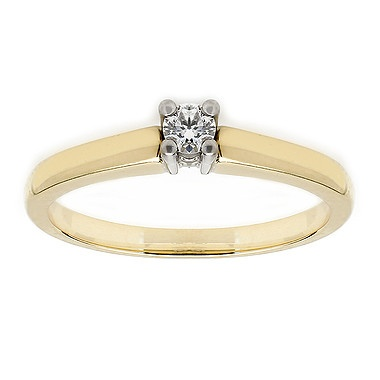 Birks Petite Collection, Diamond Solitaire Engagement Ring, in 18kt Yellow and White Gold