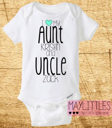 Best 25 uncle onesie ideas on pinterest trademark a phrase boy custom i love my aunt and uncle funny baby onesie aunt and uncle onesie negle Image collections