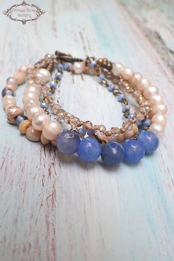 Pearl Boho Chic Bracelet Blue Agate and Pearl Bracelet