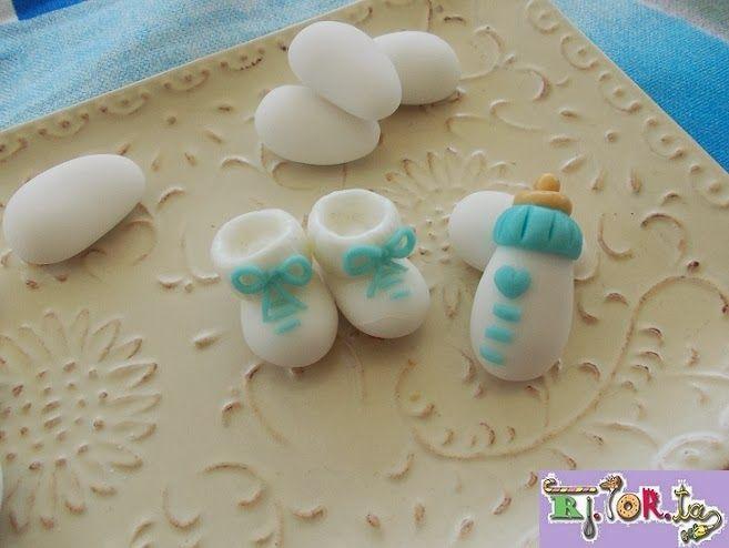 Scarpine da neonato e biberon...ma sono confetti!!!!