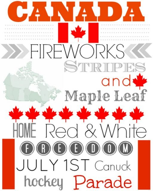 Canada 1st July free printable subway art