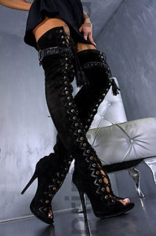 Gianmarco Lorenzi leather lace up thigh boots