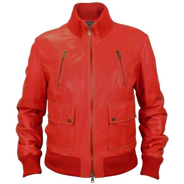 Forzieri Women's Red Leather Bomber Jacket ($890) ❤ liked on Polyvore