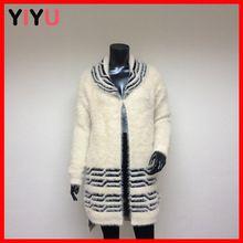 Latest fancy jacquard woolen long cardigan sweater new design for ladies