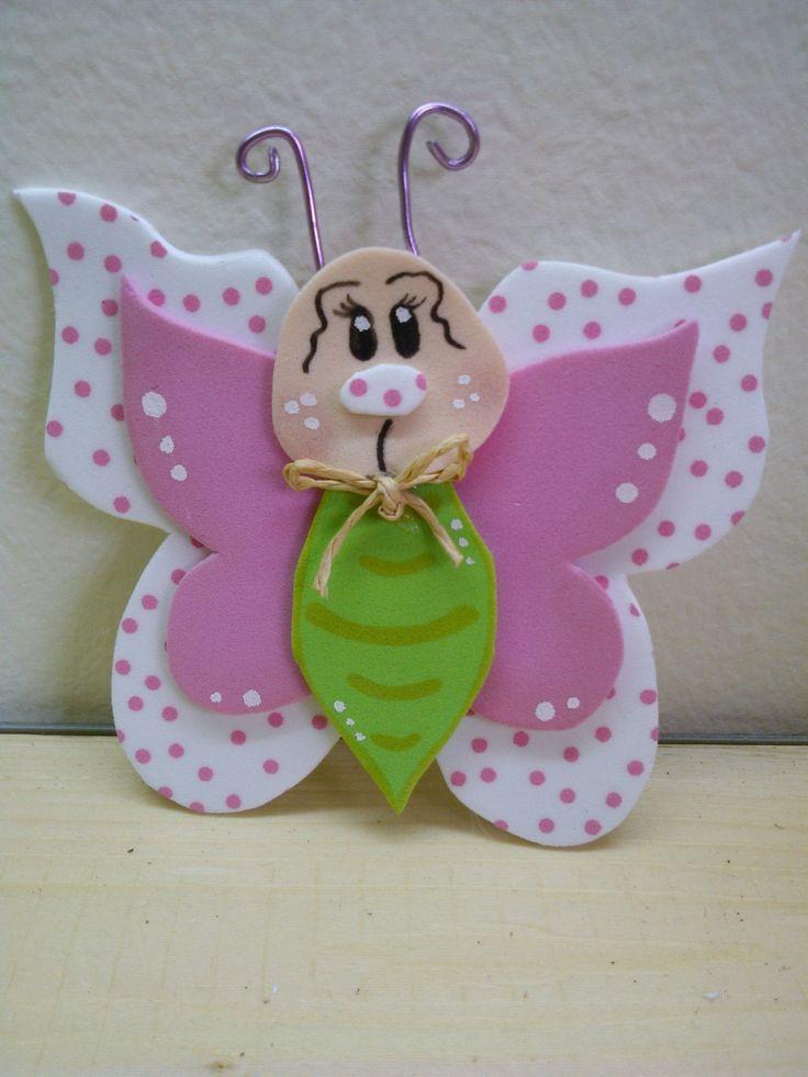 Mariposa en goma eva goma eva pinterest - Dibujos en goma eva ...