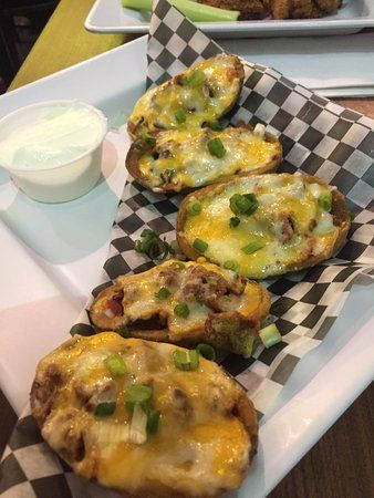 Stuffed, baked potato skins, Molson Brewhouse Calgary International Airport | 2000 Airport Dr NE
