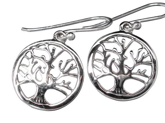 Sterling Silver 17mm Round Tree Of Life Drop Earrings