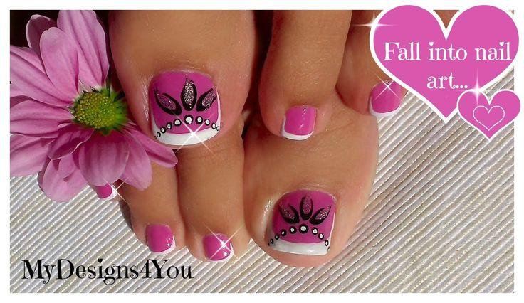 Toenail Art Design | Pink and Silver Beads Pedicure ♥ Розовый Педикюр.