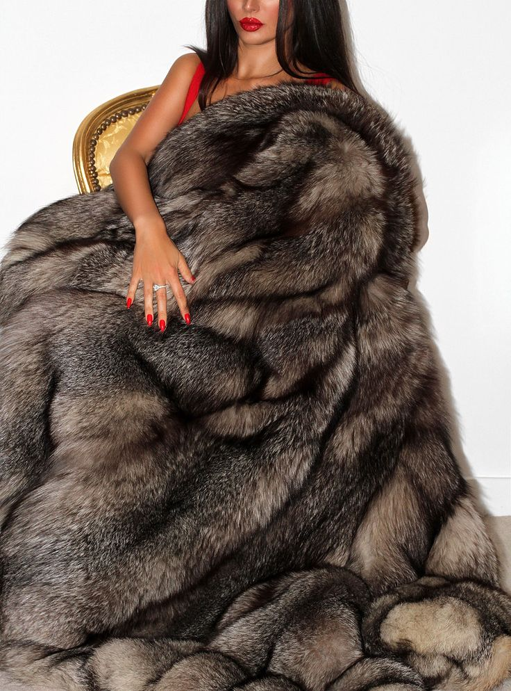 Fantastic luxurious silver saga fox real fur coat jacket xl huge ...