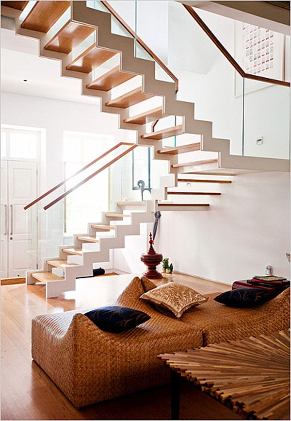 Home Decor, The Incredible Home Stairs Ideas : Wonderful Stair Design With  Rattan Sofa And Table, Home Stair Lifts, Home Stair Lift, Log Home Stairs