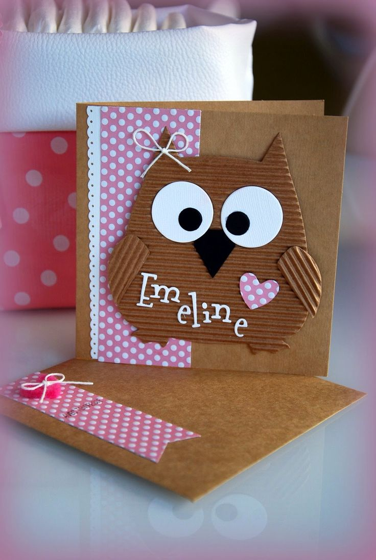 adorable baby card from Currants & CO ... Kraft ... corrugated paper die cut owl with baby's name in fun die cut font ... pink polka dot paper accents ... matching envelope ... luv it!