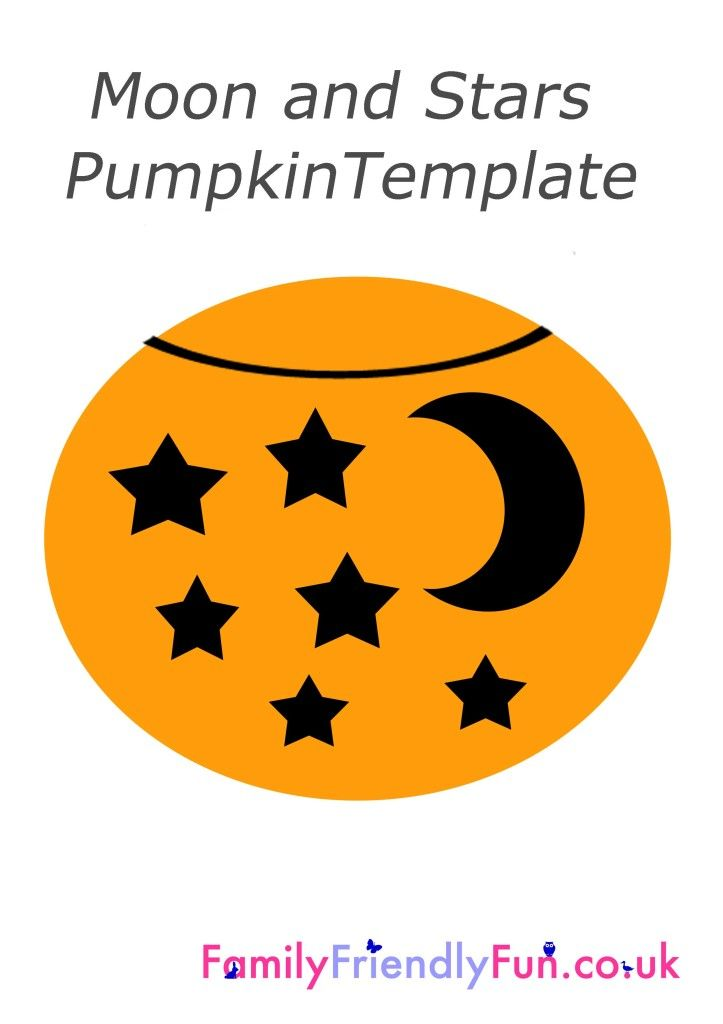 Pumpkin stencil template moon and stars halloween