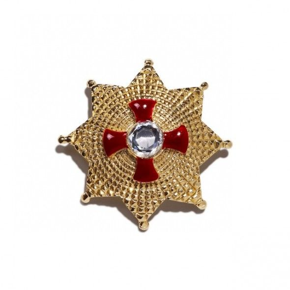 Vintage Gianni Versace red pin by Ugo Correani, 1991