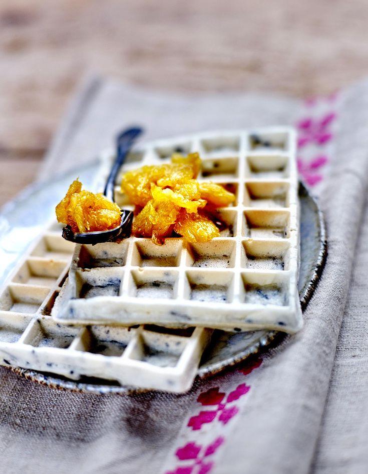 Gaufres au riz gluant et sirop d'orange pour 4 personnes - Recettes Elle à Table
