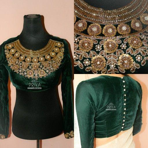 Long sleeved saree or sari blouse design.