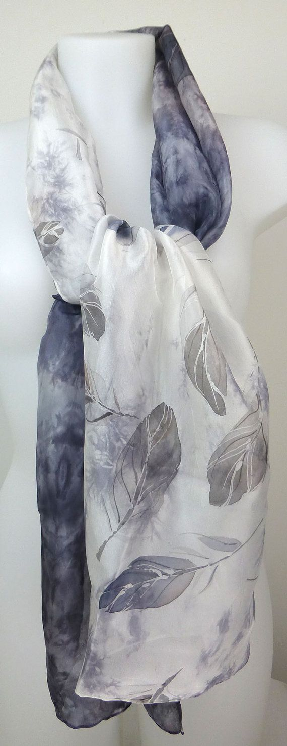 Silk hand painted scarf shawl with painted grey navy black feathers and black grey shibori. Handpainted silk scarf. 173x44cm (68x17in)
