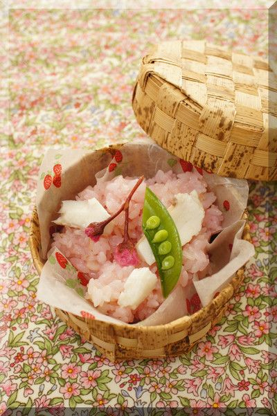 Japanese sweet rice with salted cherry blossoms and red seabream