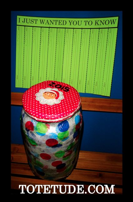 Time Capsule activity. Write notes throughout the year of good things you want to remember. On New Year's Eve, open the jar and share the memories. Printables at: http://totetude.com/blog/blog/i-just-wanted-you-to-know