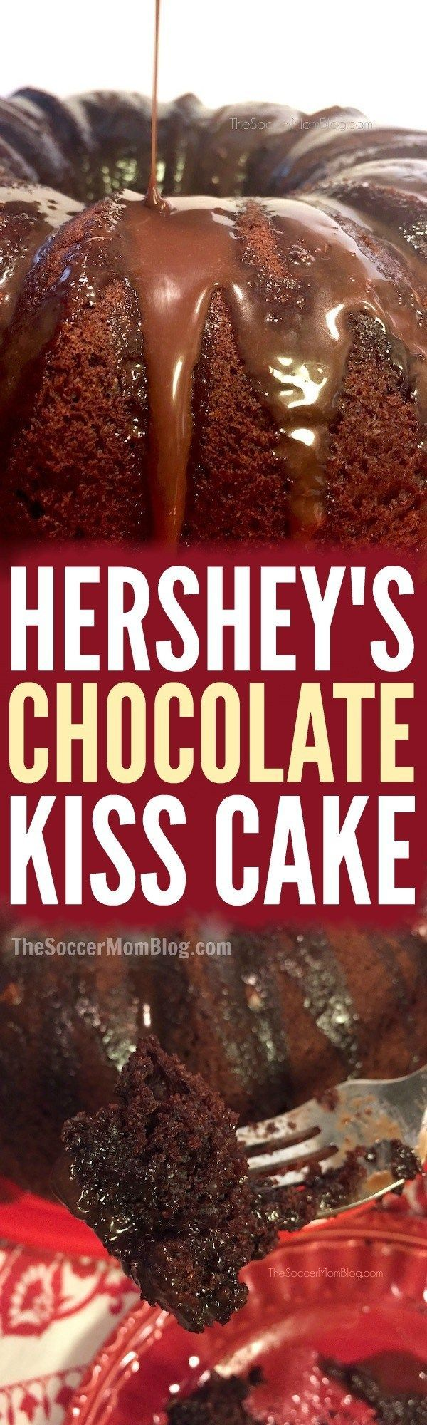 The perfect chocolate bundt cake! Hershey's Kiss Cake is packed with chocolate and coated in a rich ganache.