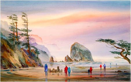 "John Ebner - Giclees, ""Sand Castles at Cannon Beach"""