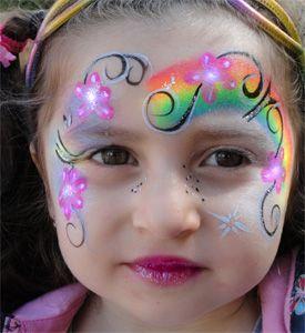 Kinderschminken-Regenbogenblumen-Sommerfest