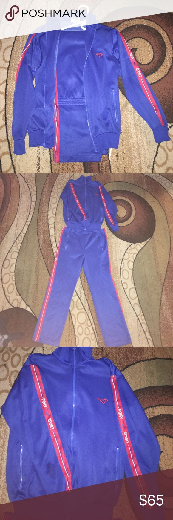 Vintage Pony Tracksuit Top & Bottom Vintage Mid 80s Pony Sport Tracksuit Top & Bottom. Great condition. Size S and fits true to size.  PLEASE remember. These are authentic vintage pieces so of course there's some normal wear and tear, but nothing noticeable. Thanks for stopping by, and may the force be with you. Pony Other