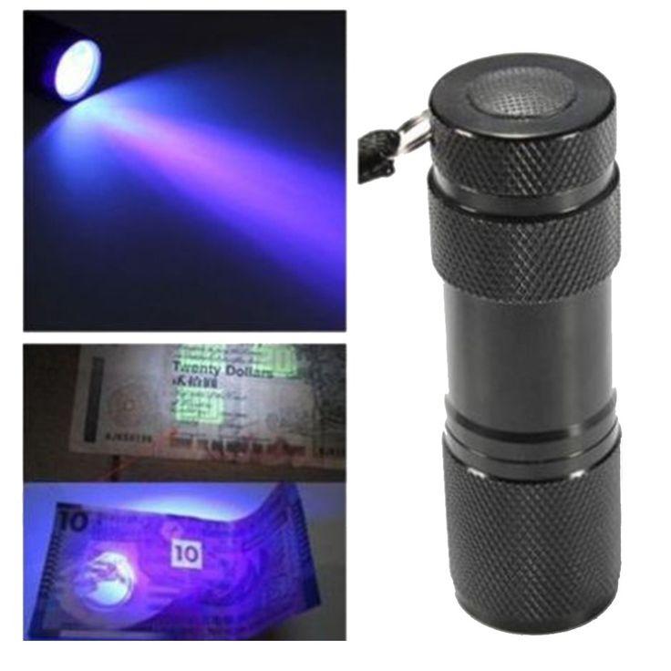 1 PC Black Mini Aluminum Portable Lights  UV Ultra Violet Blacklight 9 LED uv Flashlight Torch Light Lamp flashlight VEE07 P0.3 #Affiliate