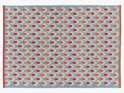 OCTO BLUES Cotton Medium blue patterned rug 140 x 200cm - HabitatUK £95