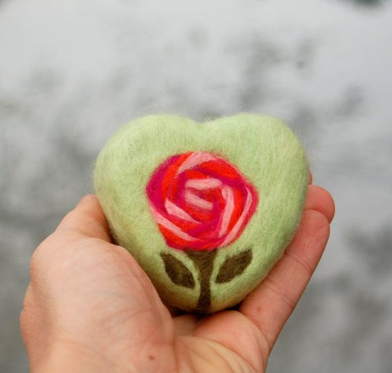 Felted Soap Green Heart with Rose Rosehip Jasmine by SoFino