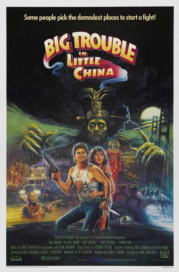 Big Trouble in Little China. Kurt Russel is over the top in the fantasy, Sci Fi movie. All I can say is that you really need to watch this movie. It is just that awesome. 5 of 5