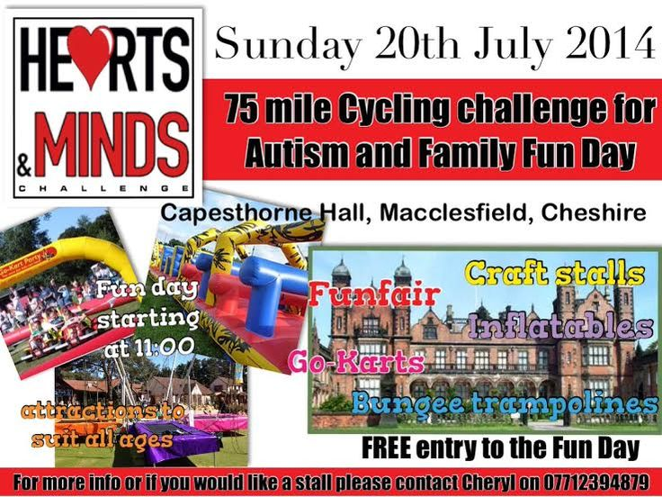 Don't forget to put July 20th in your diary. We are holding our annual fun day at Capesthorne hall. Come along to the hearts and minds stall and ask us anything you like . You can sign up for membership , have a look at some of the other fundraising events on offer, enquire about our ipad scheme . Anything you want. Plus have lots of fun with the kids on our funfair and craft stalls - If you want more details please get in touch with Cheryl on heartsandmindsevents@gmail.com or 07712 394879