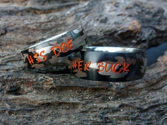 her buck his doe camo promise ring set