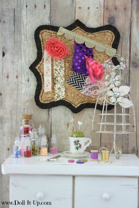 A fun doll size bulletin board and sewing room accessories