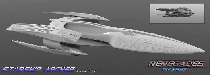 Starship Archer. Presumably Star Trek considering the warp nacelles and Enterprise reference
