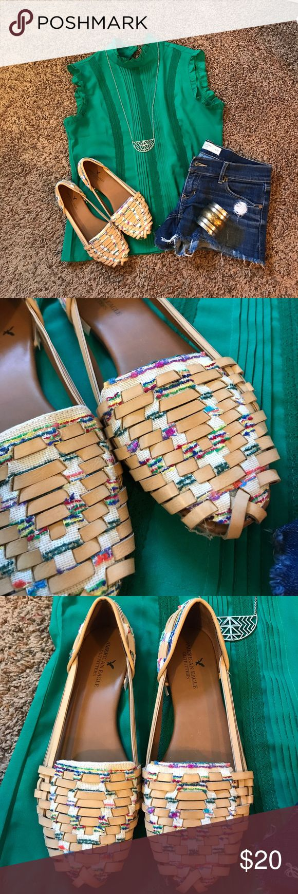 🌈American Eagle Aztec Shoes🌈 Super cute multi colored Boho sandals!  Just about every color is in these, so they will go with everything!  Perfect for any event!  Brand new and never been worn at all! American Eagle Outfitters Shoes Sandals