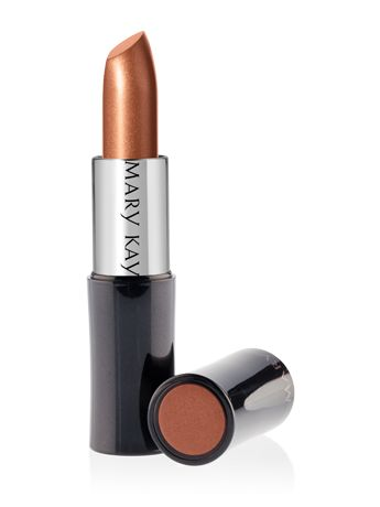 Mary Kay® Creme Lipstick – Amber Glow (Satin).This long-wearing, stay-true formula glides on easily with a lightweight, creamy texture for rich color impact that lasts. Plus, it won't feather or bleed.