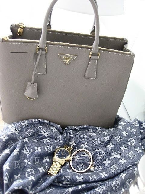 Prada bag and Louis Vuitton scarf <3 Check out YouQueen.com for more style inspiration