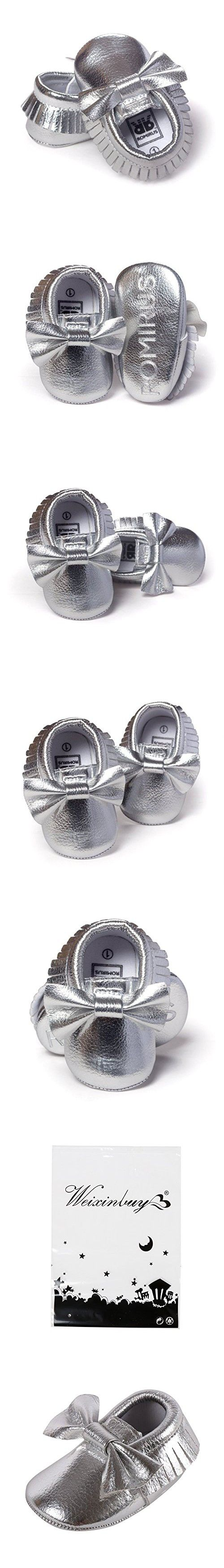 Weixinbuy Baby Boys Girls Soft Soled Tassel Bowknots Crib Shoes PU Moccasins (12-18 Months/5.32inch, #Q)