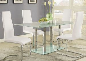 Geneva Glass Dining Table & 4 White Dining Chairs,Coaster Furniture