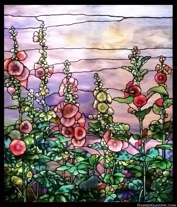 """Tiffany Hollyhocks"" Stained Glass Window"