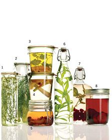 Mix your favorite spirits with seasonal herbs, fruits, and even vegetables for tasty, and beautiful, beverages. Use our combinations or create your own. Wash and dry the add-ins; trim, slice, pit, or cut them into chunks before placing them in two cups of alcohol. Let the spirits infuse in the refrigerator until the desired flavor is achieved, at least overnight and up to a month (remove the additions before they break down). Then sip straight up or mixed into a cocktail.